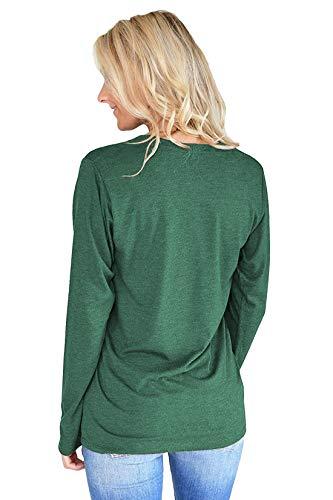 Blouse Col Fashion Imprim Automne Rond Longues Tees Femmes Manches Hauts Sweat Tops Vert et Jumpers Lettre Shirts Printemps Pulls T Shirts 6Ix7w5qTX