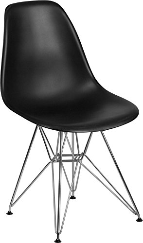 Mid-Century Modern Stylish Design Accent Dining Chair in Black Plastic Finish