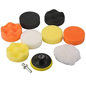 "Fontic 11pcs 3""/80mm Compound Drill Buffing Sponge Pads Kit for Car Sanding, Polishing, Waxing, Sealing Glaze (9 Polishing Pads+1 Woolen Buffer+1 Thread Drill Adapter with Shank)"
