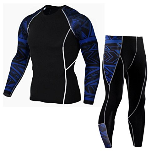 Realdo Mens Skinny Sport Sets, Slim Workout Leggings Fitness Gym Running Yoga Athletic Pants+Shirt Suit(Blue,Large) ()