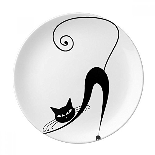 Black Cat Stretch Halloween Animal Art Silhouette Dessert Plate Decorative Porcelain 8 inch Dinner Home ()