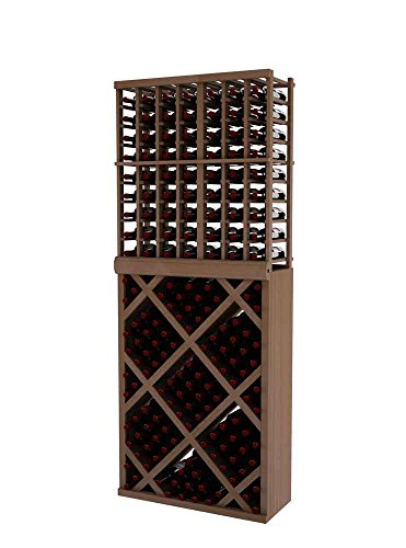 Vintner Series Wine Rack - Individual Bottle Wine Rack with Diamond Bin with Face Trim for 135 Bottles - 7 Ft - Mahogany with Unstained