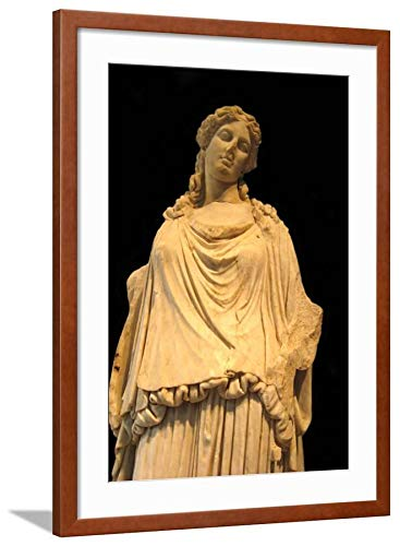 (ArtEdge Eirene, The Godess of Peace (Roman Copy from a Greek Origina), H. 1st C Ad Brown Wall Art Framed Print, 30x20, Soft White)