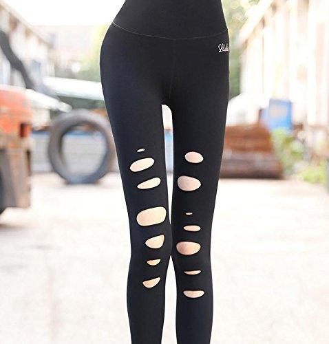 Esecuzione Donna Elastica Della Yoga Di Fitness Black Nbe In Lunghezza Pantaloni Caviglia Leggings Slim Ripped FUqdnxPw18