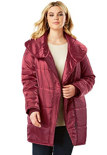 Roamans Women's Plus Size Shawl Collar Puffer Coat - Dark Cherry Shimmer, 26/28