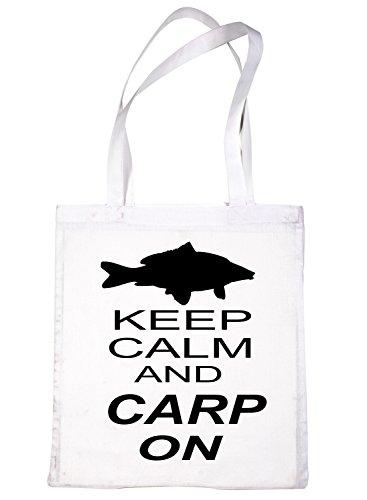 White Life Keep amp; Shopping Tote Calm For Bag Print4u Fishing Carp On qTP1nZwI4