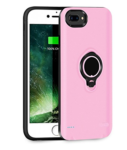 QueenAcc 3700mAh Battery Charging Case Compatible with iPhone 6 plus/6s Plus/7 Plus Portable Battery Charging Case Slim Extended Battery Pack with Kickstand and Support Magnetic Car Holder. (Pink)