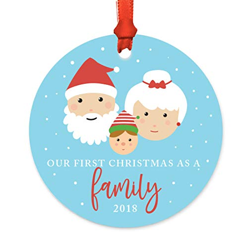 Andaz Press Adoption Family Metal Christmas Ornament, Our First Christmas as a Family 2018, Santa and Mrs. Claus with Elf, 1-Pack, Includes Ribbon and Gift Bag -  APP12145