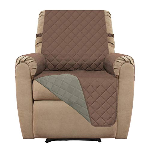 Easy-Going Recliner Sofa Slipcover Reversible Sofa Cover Furniture Protector Sofa Shield Couch Shield Water Resistant Elastic Straps PetsKidsChildrenDogCat(Recliner,Brown/Beige)