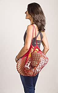French Knit Reusable Cotton Eco Grocery String Bag Hand-Knit and Dyed in France (Shoulder Handle, Red)