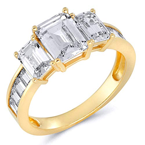 Wellingsale Ladies 14K Yellow Gold Emerald Cut 4 Prong CZ Cubic Zirconia 3 Stone Engagement Ring with Sidestones - Size - Cut 4 Setting Ring Emerald