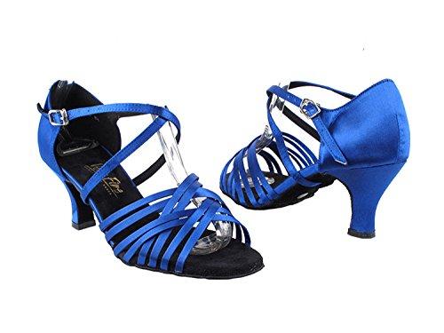 Zeer Fijne Dames Dames Ballroom Dansschoenen Ek2784 Led Limited Edition Met 2.5 Hak Blauw Satijn