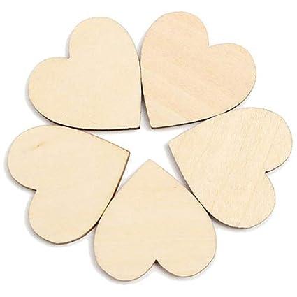 /Geshiglobal 2cm//0.79 Inch decorazione Crafts/ 50/pz in legno a forma di cuore fai da te Decorazione a forma di cuore