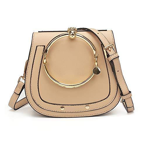 Normia Rita Cowhide Leather Top Handle Handbags Ring Purse Vintage Crossbody Shoulder Bags