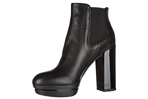 Hogan stivaletti stivali donna con tacco in pelle h299 opty nero