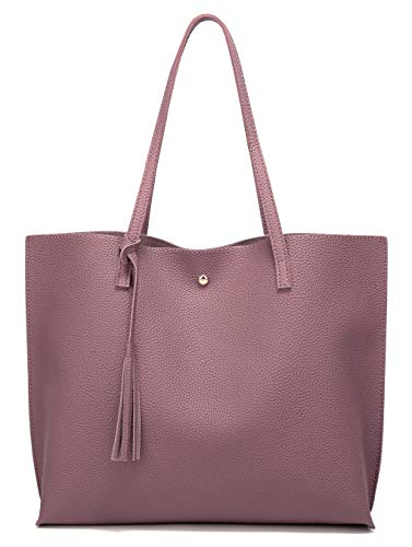 Women's Soft Leather Tote Shoulder Bag from Dreubea, Big Capacity Tassel Handbag Rubber Red -