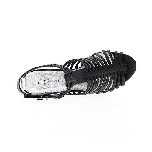 Sandales noires avec bride large talon de 11,5cm
