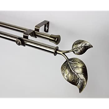 Amazon Com Modern Ivy Double Curtain Rod In Antique Brass