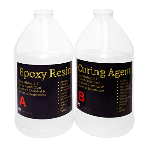 Glittered Epoxy - Clear Epoxy Resin for Table Tops, Bars, Fiberglass, Concrete - Professional Grade High Gloss Finish Multi-Purpose Resin - 2 Gallon Kit