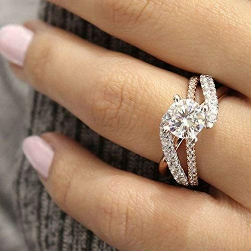 ZHQUN Exquisite 925 Sterling Silver Ring Two Tone 14K Solid Rose Gold Round White Sapphire Accross Diamond Jewelry Anniversary Proposal Gift Party Bridal Engagement Wedding Band Rings for Bride Women