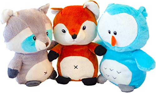 Fox, Owl, and Raccoon (Set of 3) Woodland Stuffed Animals Plush Rattle for Children of All Ages/ Newborn (Babys First Easter, Toddlers) Great Gift for Easter Baskets/ Stuffer/Baby Shower