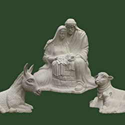 Big Nativity - Outdoor 3 Piece - 8 foot figures - Larger than Life Size Nativity Set Bonded Marble (Holy Family, sheep, donkey)