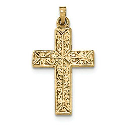 14K Yellow Gold High Polish Finish Filigree Cross Pendant (Gold Filigree Cross Necklace)