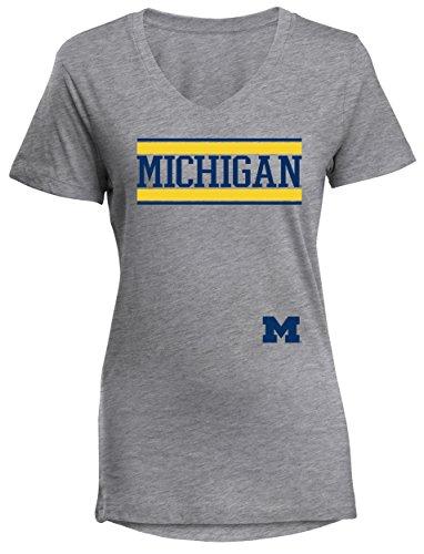 - Camp David NCAA Michigan Wolverines Diva Women's Perfect Short Sleeve V-Neck Tee, Athletic Heathered, XX-Large