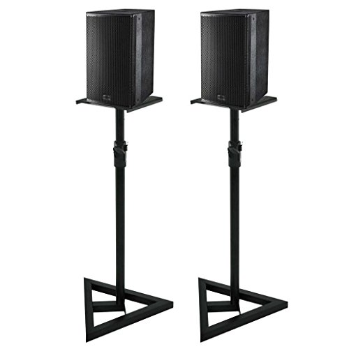 Pair of Near-Field Studio Monitor Stands w/Adjustable Height PA Speaker Stand New ()