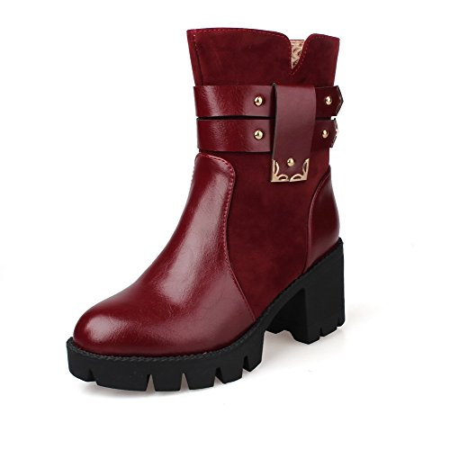 AgooLar Women's Low-top Solid Zipper Round Closed Toe Kitten-Heels Boots Claret EazmFEuW