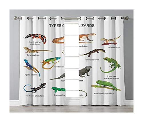 Goods247 Blackout Curtains,Grommets Panels Printed Curtains Living Room (Set of 2 Panels,55 63 Inch Length),Reptiles -