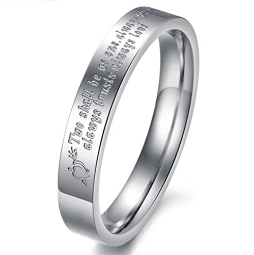 Men Women Silver Stainless Steel Couple Engrave Love Quotes Proverb Wedding Engagement Ring Promise Band