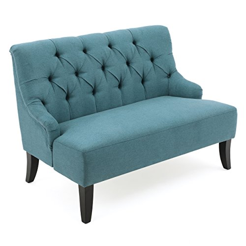 GDF Studio 299449 Drew Button Tufted Fabric Settee, Dark Teal (Curved Settee)