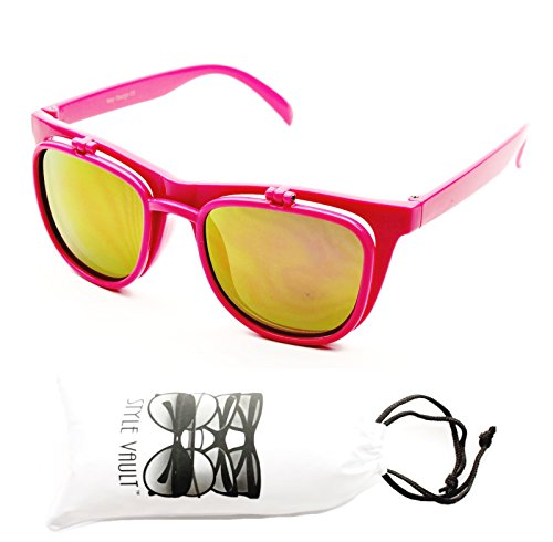 W111-vp Flip up Vintage 80s vintage retro dual lens Mirrored Sunglasses (8093 Pink-purplish Gold W Pouch, ()