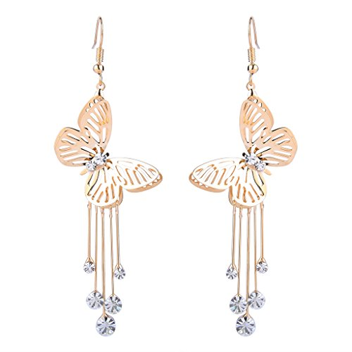 - BriLove Women's Wedding Elegant Hook Dangle Earrings with Crystal Hollow Butterfly Long Filigree Clear Gold-Toned