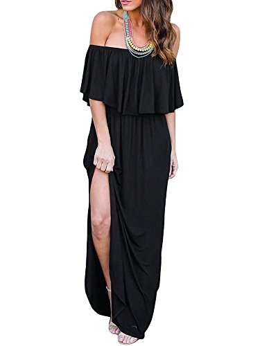 lder Ruffle Long Maxi Dress Boho Beach Party Side Split Pockets Dresses (Chic Party Dresses)