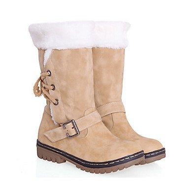 Pu Vestire Calf Comfort EU39 Moda Scarpe Toe Office CN39 Stivali Novità Stivali Donna Lace UK6 amp;Amp; Per Piatto Autunno Rotondo Carriera RTRY Inverno Tacco Up Mid Boots US8 E46qgX0
