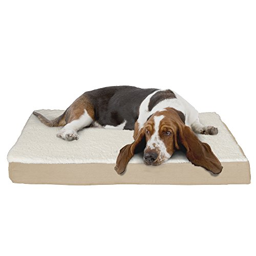 PETMAKER Orthopedic Sherpa Top Pet Bed with Memory Foam and Removable Cover 36x27x4 Tan
