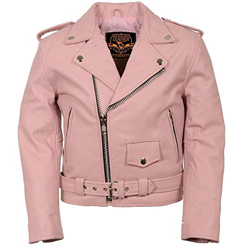 Milwaukee Leather Kids Traditional Style Pink Leather Motorcycle Jacket - Pink/X-Small - XS