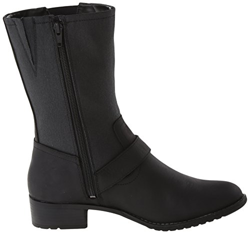 Hush Puppies Womens Lola Chamber Boot Nero Impermeabile In Pelle / Tela