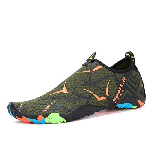 Voovix Water Shoes Men Women Quick Dry Barefoot Aqua Shoes Swim Surf Beach Pool Green/Orange