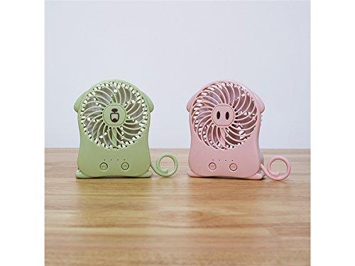 Yunqir Compatible USB Portable Lovely Cartoon Animal Handheld Mini Folding Fold Fan (Green)