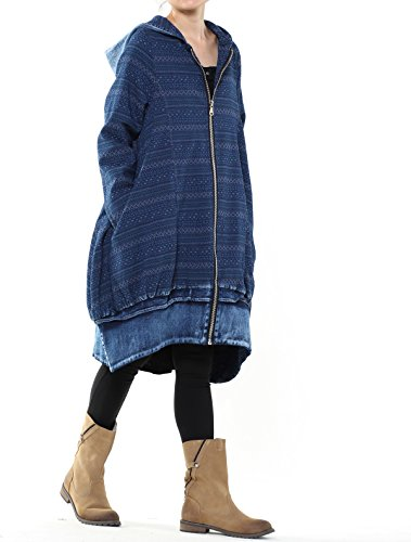 Mordenmiss Women's New Loose Fit Hoodie Zipper Up Denim Trench Coat With Pockets, Style 1-blue, Large by Mordenmiss (Image #2)