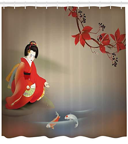Lunarable Koi Fish Shower Curtain by, Geisha Feeding Sacred Beast Autumn Time Asian Culture Eastern Vibes Oriental, Fabric Bathroom Decor Set with Hooks, 84 Inches Extra Long, Sepia Multicolor ()