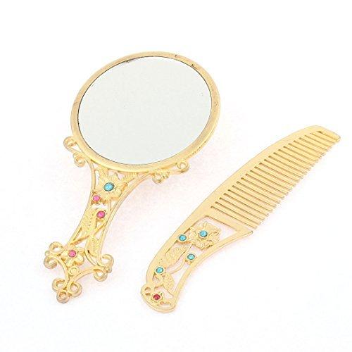 eDealMax en Forme de Fleur  Main Beaut Maquillage Miroir Compact Peigne ton or