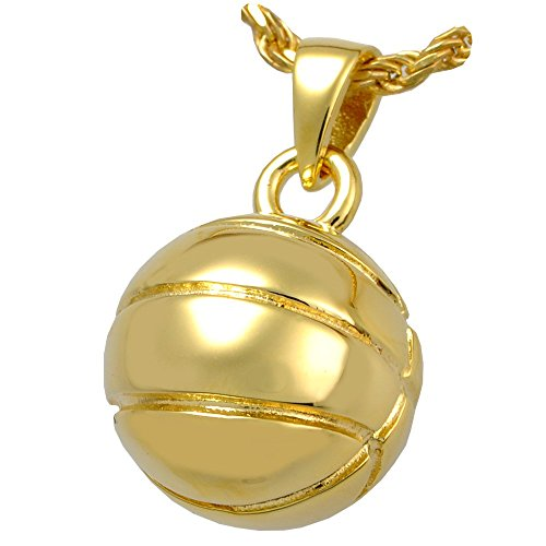 Memorial Gallery MG-3041gp Basketball 14K Gold/Sterling Silver Plating Cremation Pet Jewelry by Memorial Gallery