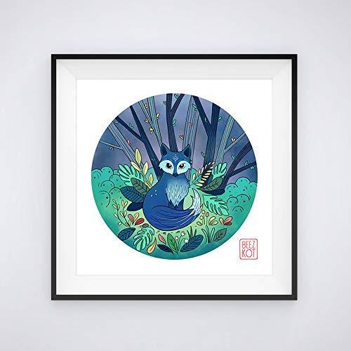 Illustration Renard bleu 21 x 21 cm