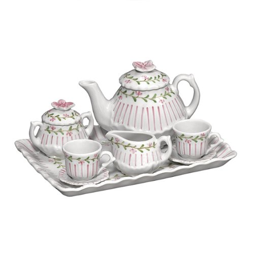 Andrea by Sadek Doll Tea Set -Pink Pinstripe