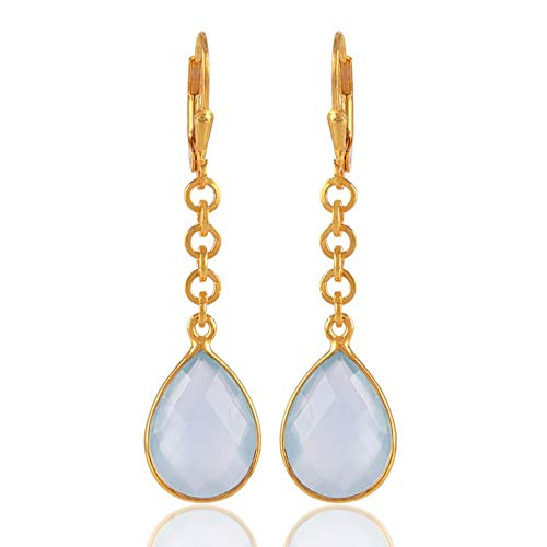 Chalcedony Link Earrings - Natural Chalcedony Gemstone Link Earring