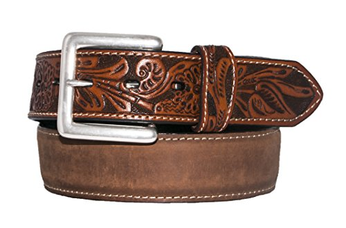 Hand Belt Buckle (Stetson Men's Smoky Roughout Leather Belt with Hand-Tooled Billets Silver Buckle Brown)